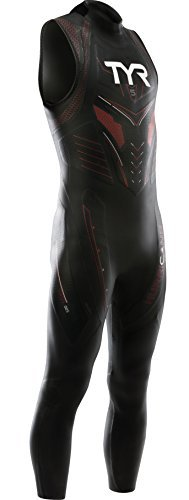 TYR Men's Hurricane Sleeveless Wetsuit Category 5, Black/Red, X-Large by