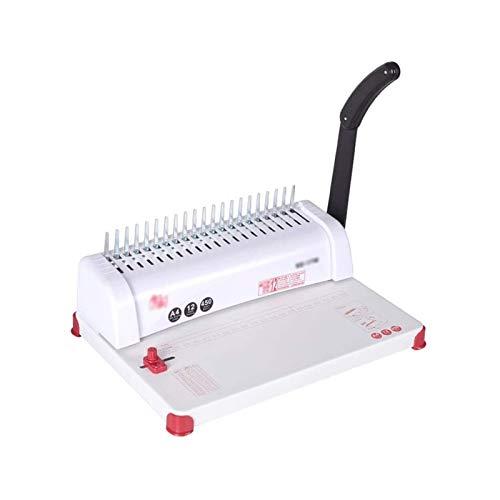 Adesign Máquina Manual Multifuncional Punzonamiento y encuadernación A4 Papel Papel de Hoja Suelto Punzonado Anillo de Goma de 21 Orificios Máquina de unión a Clip de 10 Orificios