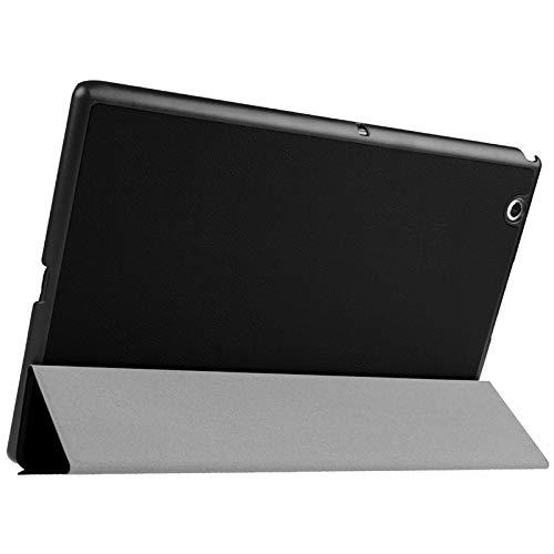 Funda Protectora para Tablet Funda de Cuero en Color Liso con Tapa Horizontal de Textura de Karst con Soporte de 3 Plegables para Sony Xperia Z4 (Color : Black)