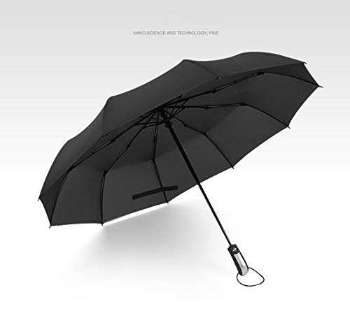 Movie House Automatic Folding Umbrella Windproof Double-use Umbrella with 10 Ribs Reinforced Large Canopy Ergonomic Handle Lightweight Umbrella for Business or Travel use Black (Black, 10 Ribs)