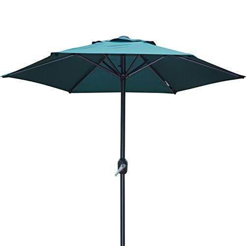 Parasols 6,6 Pieds Vert de Jardin avec Manivelle, Plate-Forme Patio Parapluie - 6 Côtes Robustes, Table de Marché en Plein Air Pare-Soleil Parapluies (Size : 2m/6.6ft/79in)