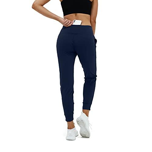 CAPMAP Sportleggins Damen Lang Leggings Damen High Waist Yoga Hose Für Frauen Jogginghose Mit Taschen Sporthose Mit Handytasche Damen(Blau L)
