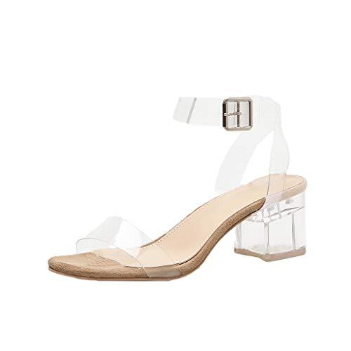 Sandalen High Heels Damen Sommer, Sandaletten Damen Mit Absatz Square Heeled Buckle Strap PVC Transparent Keilsandaletten hoch Wedding Shoes (39 EU, Khaki)