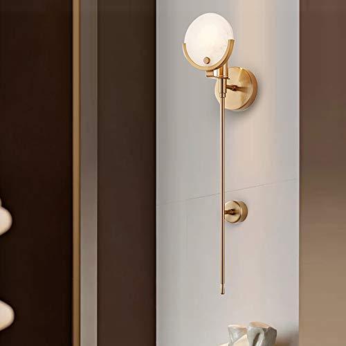 AJJA Nordic Schlafzimmer Wandleuchte TV Hintergrund Wohnzimmer Schlafzimmer Nachttisch Badezimmerspiegel Vorderwandleuchte Moderne Treppenlicht Marmor Langmast Wandleuchte Gold 12x62cm Wandlampe