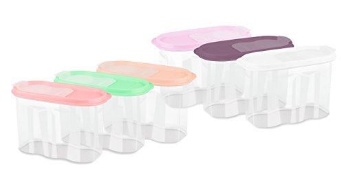 Hobbylife Frischhaltedosen Set mit luftdichtem Deckel Auslaufsichere Schüttdosen Vorratsdosen BPA-Frei 2,4l für Zucker Tee Kaffee Nudeln Müslis Spülmaschinenfest (6 Farben, 6er Set)
