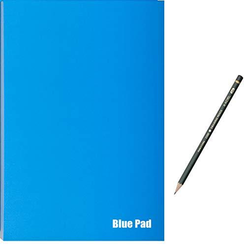 Skizzenblock, 170g/m², Der Blaue Block, 40 Blatt, Zeichenblock inkl. Bleistift für Skizzen und Zeichnungen (DIN A4)