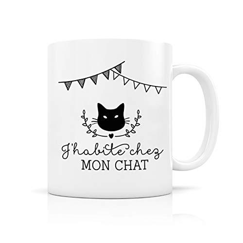 Mug porcelaine : J'habite chez mon chat