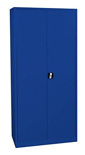 Flügeltürenschrank kompl. montiert und verschweißt Blauer Schrank Stahl Stahlblech Lagerschrank Aktenschrank 4 Fachböden 530343 Enzianblau 1950 x 920 x 420 mm