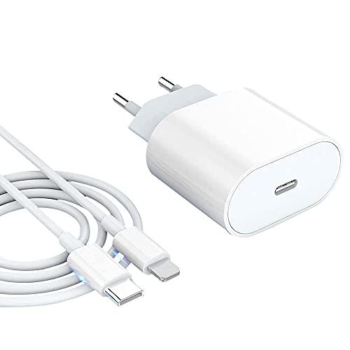 FKH USB C 20W Rapido Caricatore e 1.2 metri Cavo Caricabatterie PD 3.0 Alimentatore Presa Spina Ricarica Rapida Adattatore Compatibile per Phone 12/12 Mini/12 Pro Max/11/Xs/Xr/8 Plus/Pad Pro