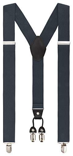 Fanucci 4 clips, forma y 3,5 cm, tirantes para pantalones, color gris oscuro, para mujeres, jóvenes, hombre, Navidad, pantalones de trabajo, traje extrafuertes, clip vintage, color gris oscuro