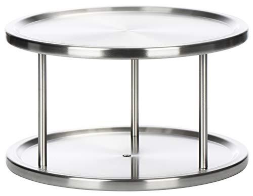 com-four® Estante de cocina de acero inoxidable - Especiero redondo con 2 estantes - Gabinete redondo - Estante giratorio universal para cocina y baño (01 piezas - 15x26.5cm)