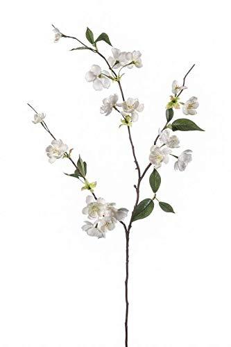 artplants.de Set 12 x Künstlicher Zierpfirsich Zweig CAMILLES, Creme, 80cm - Kunst Pfirsich Zweig - Deko Zierpfirsich Zweig