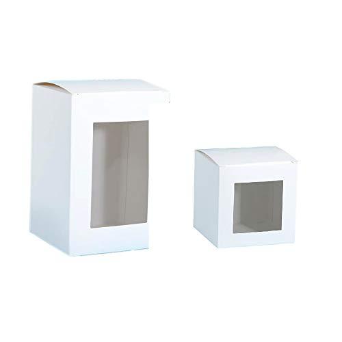 50 Pezzi Scatola Confezione Regalo Bomboniera Misura Varia Con Finestra Colore Bianco (8 * 8 * 10cm)