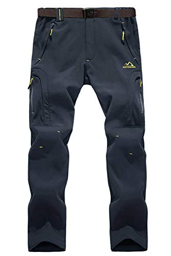 EKLENTSON Herren Wanderhose Jogging Berghose Winddicht Gefüttert Sport Warm Winterhose mit Multi Taschen Dunkel Grau, 34