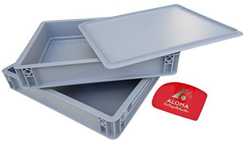 Aloma Pizza BALLEN Box 30 x 40 cm Pizzabehälter Gärbox für Teiglinge (2 X Box mit Deckel) und EIN Teigspachtel