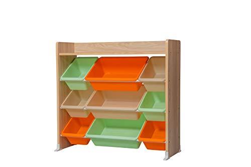 Iris Ohyama Kids Toy Rack TKTHR-39 Meuble de Rangement à Jouets pour Enfants, 1 étagère/9 boîtes Amovibles, Engineered Wood, Chêne Clair, L86,3 x P34,8 x H79,8 cm