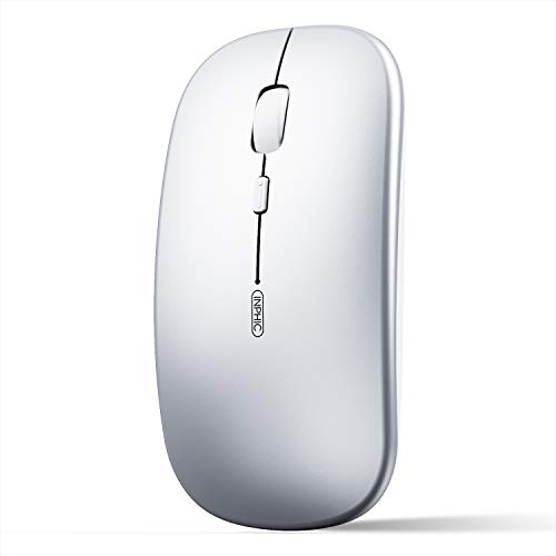 INPHIC Bluetooth Mouse, Slim Silent Rechargeable Bluetooth 5.0 Wireless Mouse, 800/1200/1600 DPI Portable Computer Cordless Mouse for Laptop PC Mac, iPadOS, Silver