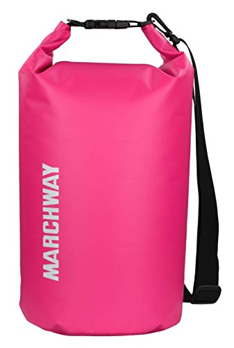 MARCHWAY Floating Waterproof Dry Bag 5L/10L/20L/30L, Roll Top Dry Sack for Boat, Ski, Beach, Paddle Board Sport, Kayaking, Rafting, Boating, Swimming, Camping, Hiking, Canoeing, Fishing (Pink, 20L)