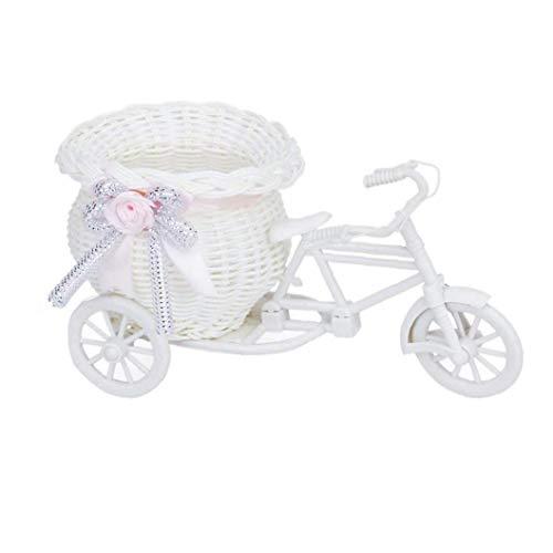 Forma Bike Cestino Del Fiore Creativo Flower Vase Bike Holder Handmade Rattan Fiore Biciclette Vaso Bianco E Rosa Casa Festival Orenments