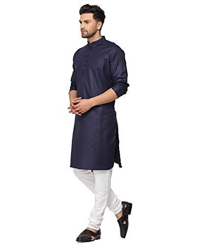 Enmozz® Navy Blue Cotton Plain Men's Ethnic Simple Kurta Only