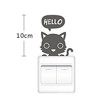 leading-star CHEAP FASHION pratique Children's Room chat mignon Bouton Sticker mural pour chambre à coucher