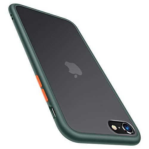 TORRAS für iPhone SE 2020 Hülle/iPhone 8/7 Hülle Militärischer Vollschutz Berühren Slim & Silikon Leicht Durchsichtige Hülle Kratzfest Handyhülle für iPhone SE 2020/7/8 - Matt Grün
