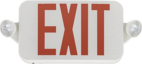 Lithonia Lighting ECC R M6 LED Exit/Emergency Sign, 2 watts, T20 Compliant, Red Letters
