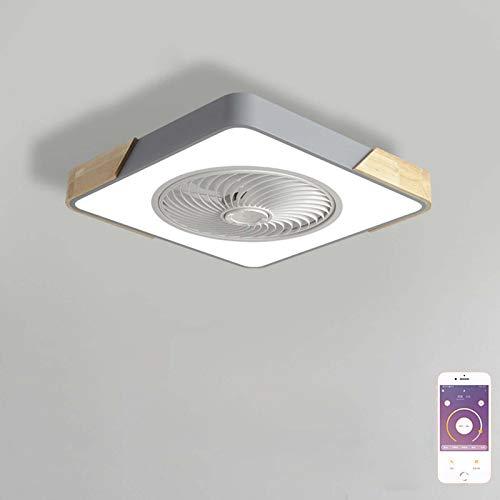 Ventilador de Techo con Luz Moderna APP Control Regulable Plafón Iluminación Cuadrado Lámpara Ventilador Invisible Velocidad Del Viento Ajustable para Dormitorio Sala de Estar Comedor Gris VOMI