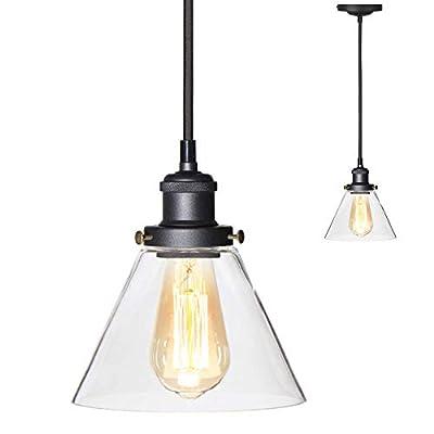 XIDING Glass Ceiling Light Fixtures, Industrial Pendant Light Fixture, Modern Ceiling Light with Clear Glass