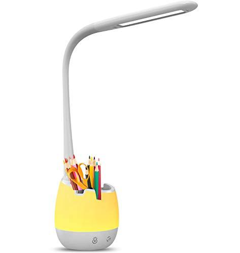 vitutech LED Schreibtischlampe Kinder, Nachttischlampe mit Handyhalter und Stifthalter, 3 Helligkeitsstufen und stufenloses Dimmen USB Wiederaufladbar Leselicht 7 Farbmodi für Zuhause Büro Studie