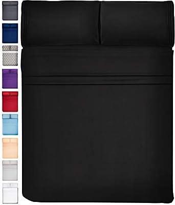 Extra Deep Pocket Sheets Set Microfiber Sheet Set Bed Sheet Sets Microfiber Sheets Microfiber Bed Sheets - Cooling Sheets Cooling Bed Sheets Extra Deep Sheets Super Soft Sheets Full Size, Black