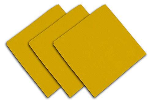 Soleil d'Ocre Alix Lot de 3 Serviettes de Table, Polyester, Jaune, 40x40 cm