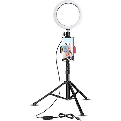 Uymkjv Lámpara de Anillo, lámpara cónica cónica LED con trípode con Soporte de teléfono móvil con Control Remoto Bluetooth, Utilizado para la transmisión en Vivo de Youtube, Tiktok, 16 cm