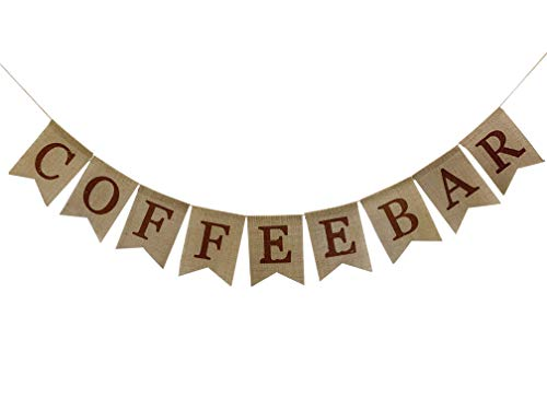 Rustic Burlap Coffee Bar Banner for farmhouse wall and table decor,Party Supplies and Decorations for Kids Birthday,Wedding,Anniversary,Bachelorette,Winter Hot Coffee Bar Sign for Photo Prop and Backd