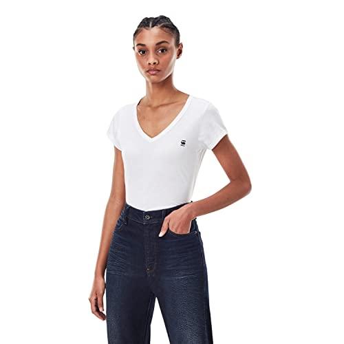 G-STAR RAW Eyben V-Neck Slim Camiseta, Mujer, Blanco (White), XL