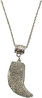Aga Elephant Tooth Shaped Handmade Resin Pendant Sterling Silver Necklace for Women - Silver
