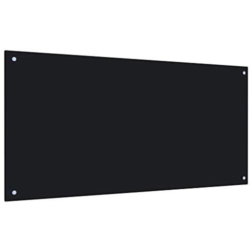 vidaXL Küchenrückwand Spritzschutz Fliesenspiegel Glasplatte Rückwand Herdspritzschutz Wandschutz Herd Küche Schwarz 120x60cm Hartglas