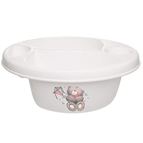alles-meine.de GmbH Waschschüssel / Kinderwaschbecken - weiß _ Tiere - Teddybär - Teddy _ Bieco - 3 Kammern - Baby - Putzeimer - Windeln Wickelschüssel - Windel Babywindel - für ..
