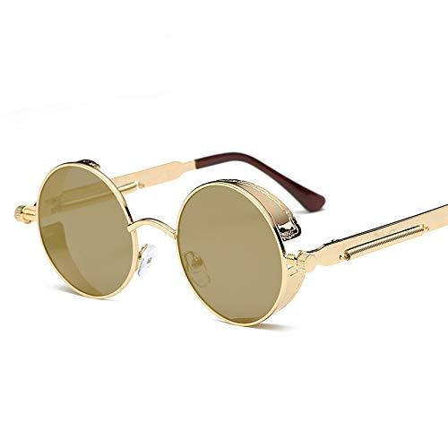 TYW Retro zonnebril, stijlvolle metalen ronde zonnebril, ronde retro polaroïde zonnebril rijden, polarisatiebril Steampunk