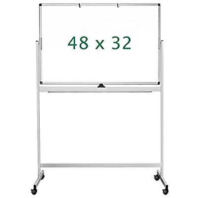 Double Sided Mobile Whiteboard, 48 x 32 inches Large Rolling White Board, maxtek Reversible Magnetic Dry Erase Board Easel Standing Whiteboard on Wheels for Home Office Classroom
