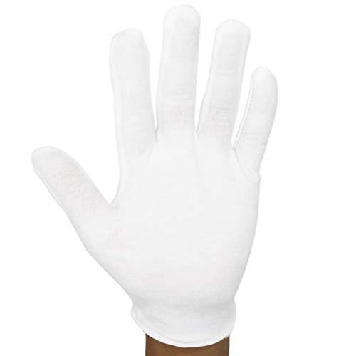7thLake Lot de 6 paires de gants en coton blanc doux pour inspection de bijoux et d'argent
