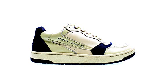 Guess Scarpe Uomo Sneaker MOD. Pesaro Low in Pelle Bianco/Blu U21GU05