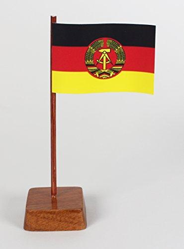 Set 2 Stück Mini Tischflagge DDR 67x44 mm mit Ständer aus Holz, Gesamthöhe ca. 130 mm Tisch Flagge Fahne