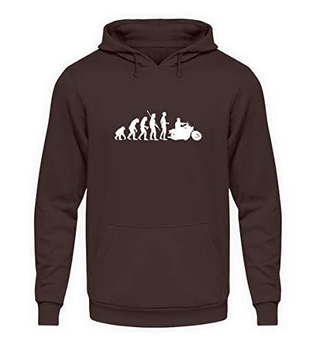 shirt-o-magic Motorrad: Evolution Motorradfahrer - Unisex Kapuzenpullover Hoodie -M-Schokolade