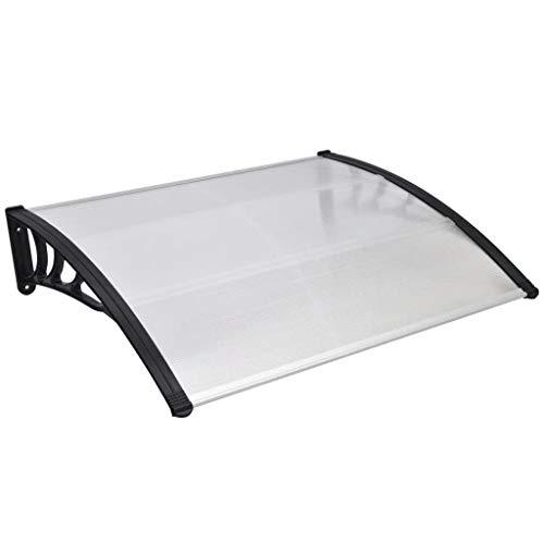 vidaXL 141759 Vordach 150x100cm Alu Haustürvordach Türdach Pultvordach Türvordach, Plastik, Schwarze Halterung und transparente Platten, Größe: 150 × 100 cm (L × B)