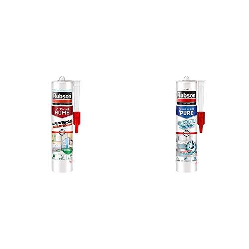 Rubson Mastic Perfect Home Universal Multi-Applications Transparent, 280 ml & Mastic Bain & Cuisine Blanc Pur Hygiène, mastic étanche et anti-moisissures à base de silicone, 280 ml