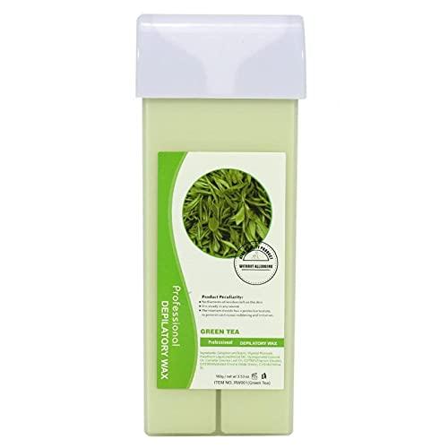 100 g de cire épilatoire professionnelle, 12 goûts, crème pour épilation du visage sous les bras et le corps, grande recharge de cire pour kit chauffe-cire (pomme verte) BJY969 (couleur : thé vert)