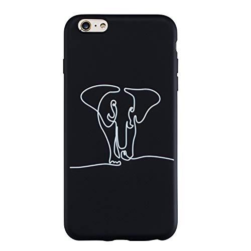 LeviDo Funda Compatible para iPhone 6 Plus/iPhone 6S Plus Silicona Case Motivo Dibujos One Piece Carcasa Ultrafina Slim Goma Antigolpes TPU Bumper Resistente Negro Cover, Elefante