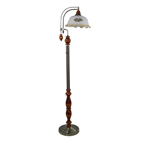 Cxwcy Europäische Stehlampe Idyllisch Mediterraner Couchtisch Stehlampe Retro Kreative Stehlampe Arbeitszimmer Schlafzimmer Dimmen Massivholz Stehlampe
