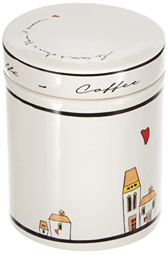 Egan Le Casette Barattolo, Ceramica Smaltata, Avorio, Small, 2 unità